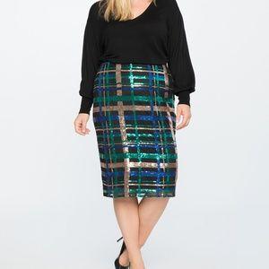 Eloquii Sequin Column Skirt